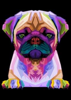 Netter mops auf geometrischem pop-art-stil. abstrakter regenbogen.