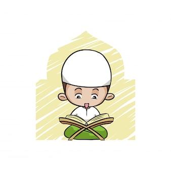 Netter moslemischer junge, der den quran liest