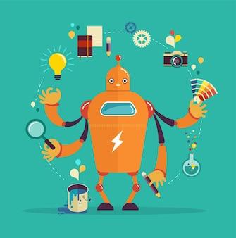 Netter multitasking-roboter - grafikdesign und kreatives denken