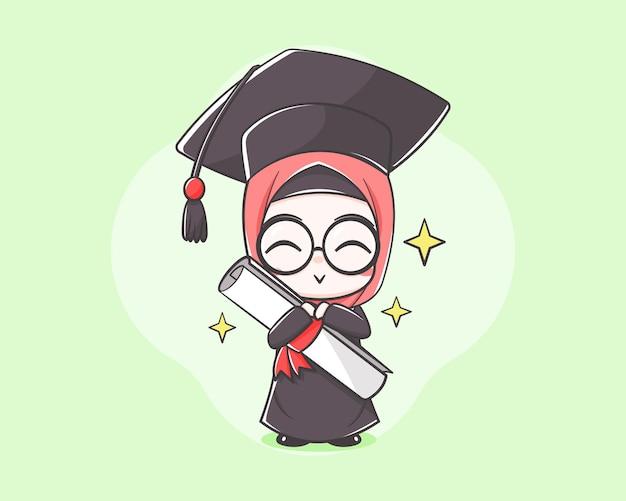 Netter muslimah-student an der karikaturillustration des abschlusstages