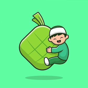 Netter muslimischer junge, der ketupat-nahrungsmittelkarikatur-symbol-illustration umarmt. people religion icon concept isoliert. flacher cartoon-stil.