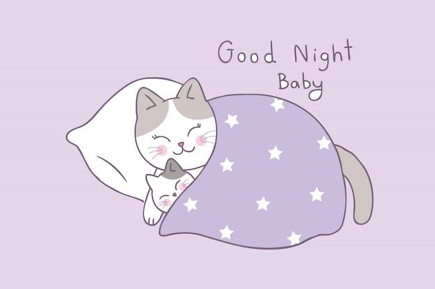 Netter mutter- und babykatze-schlafvektor der karikatur.