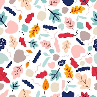 Netter nahtloser handgezeichneter herbstvektor mit blättern und blumensaison bunte herbstblume