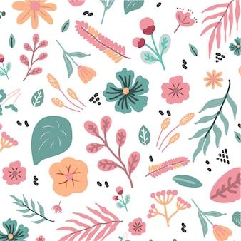 Netter nahtloser handgezeichneter tropischer vektor mit hibiskus-blumenfrühlingssommer auf weißem hintergrund