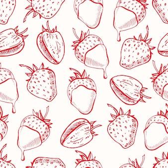 Netter nahtloser hintergrund mit erdbeeren und schokolade