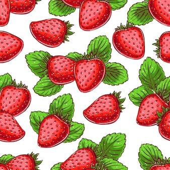 Netter nahtloser hintergrund mit köstlichen reifen erdbeeren. handgezeichnete illustration