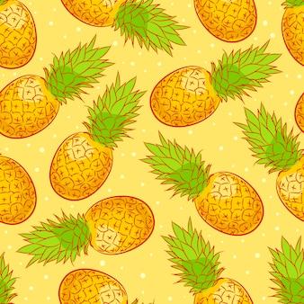 Netter nahtloser hintergrund mit reifer appetitlicher ananas