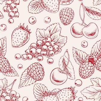Netter nahtloser hintergrund mit rosa reifen beeren und blättern. handgezeichnete illustration