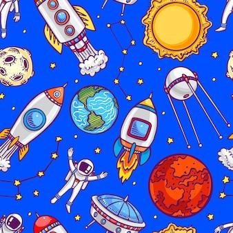 Netter nahtloser hintergrund von astronauten, planeten und raketen. handgezeichnete illustration