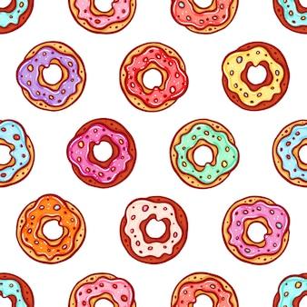 Netter nahtloser hintergrund von donuts mit bunter glasur