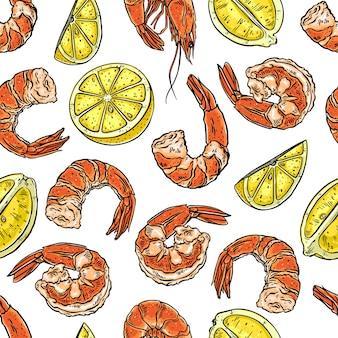 Netter nahtloser hintergrund von gekochten verschiedenen garnelen und zitronen. handgezeichnete illustration