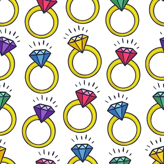 Netter nahtloser hintergrund von ringen mit verschiedenen edelsteinen. handgezeichnete illustration