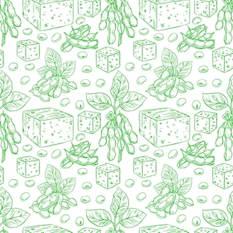 Netter nahtloser hintergrund von sojabohnen und tofu. handgezeichnete illustration