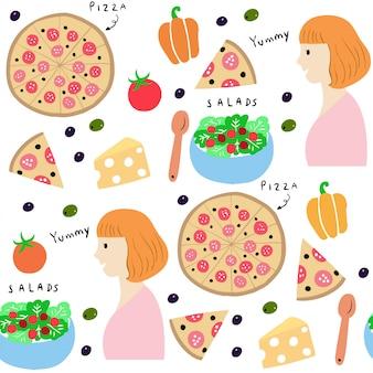 Netter nahtloser musterfrauen- und -pizzavektor.