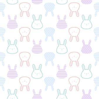 Netter nahtloser musterhintergrund des niedlichen kaninchens