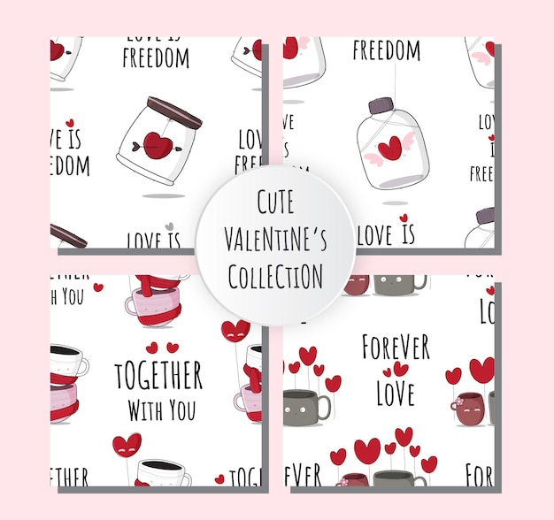 Netter nahtloser mustersatz der netten karikatursammlung glücklichem valentinstag
