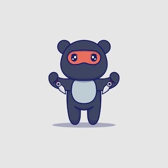 Netter ninja-bär, der waffen trägt