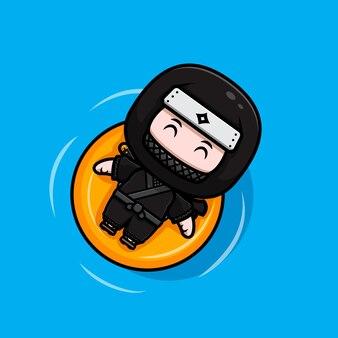 Netter ninja, der auf wasser schwimmt, mit schwimmender bouy-maskottchen-symbolillustration