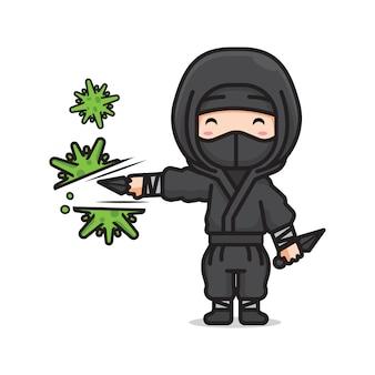 Netter ninja, der koronavirus trifft