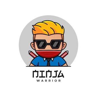 Netter ninja-krieger mit maskenlogo