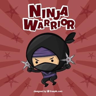 Netter ninja-kriegershintergrund