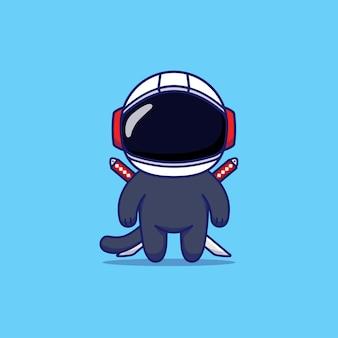 Netter ninja mit mit astronautenhelm