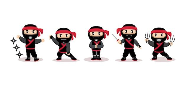 Netter ninja mit schwarzem anzugmaskottchenentwurf
