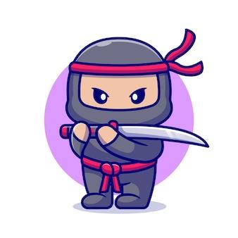 Netter ninja mit schwertkarikatur. flacher cartoon-stil