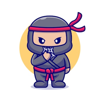 Netter ninja mit shuriken-karikatur. flacher cartoon-stil