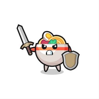 Netter nudelschüssel-soldat, der mit schwert und schild kämpft, süßes stildesign für t-shirt, aufkleber, logo-element