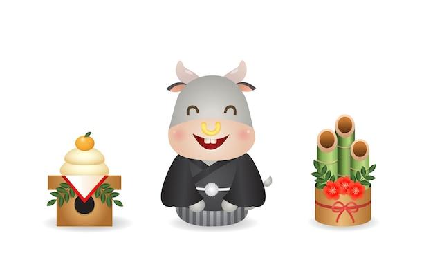 Netter ochse sitzt im japanischen kimono-stil zwischen kagamimochi und kadomatsu. japan neujahrsfeier. vektorclipart lokalisiert auf weiß