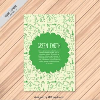 Netter ökologische flyer mit zeichnungen