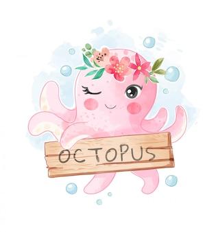 Netter oktopus in blumenkronen- und zeichenholz