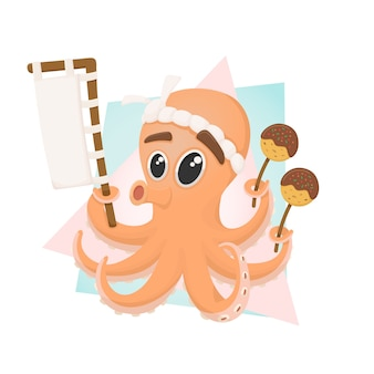 Netter oktopus takoyaki maskottchencharakter