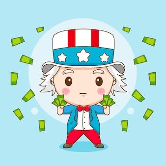 Netter onkel sam, der geld cartoon charakter illustration ausgibt