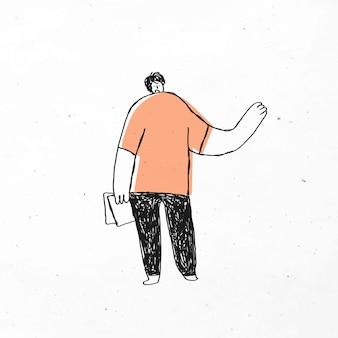 Netter orange büromannvektor, der papiergekritzelikone hält