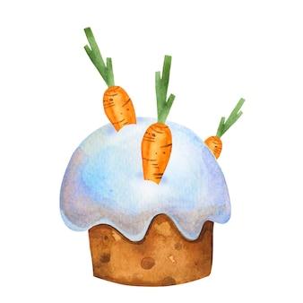 Netter osterkuchen mit karotten. aquarell