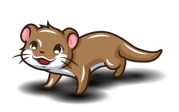 Netter otter-cartoon., animail-cartoon-konzept.