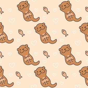 Netter otter-nahtloser muster-hintergrund
