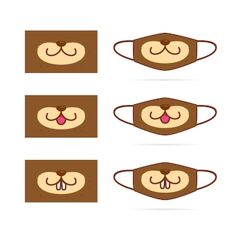 Netter otter tierkarikaturmund gesichtsmaske set design