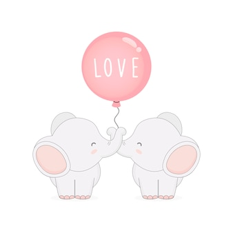 Netter paarelefant mit ballonen. valentinstagskarte.