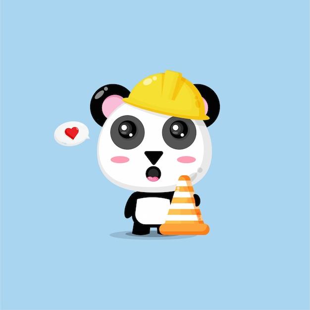 Netter panda arbeitet im bau