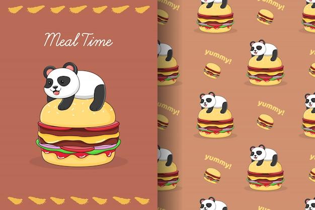 Netter panda auf burger nahtloses muster und karte