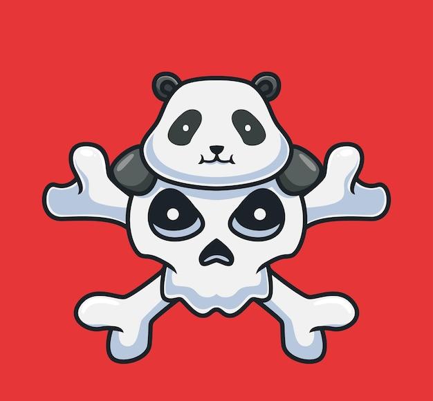Netter panda auf dem riesigen schädelkarikaturtier-halloween-ereigniskonzept isolierte illustration flat