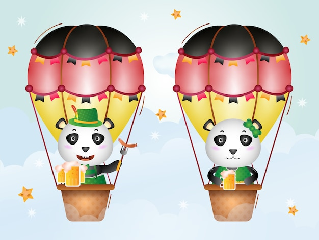 Netter panda auf heißluftballon mit traditionellem oktoberfestkleid