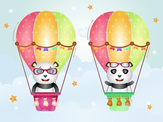 Netter panda auf heißluftballon