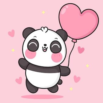 Netter panda-bärenkarikatur, der herzballon für kawaii geburtstagstier hält