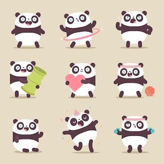 Netter panda-charakter-cartoon-satz