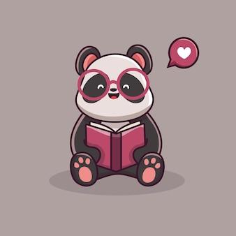 Netter panda charakter, der buchkarikatur liest