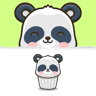 Netter panda cupcake, tiercharakterentwurf.